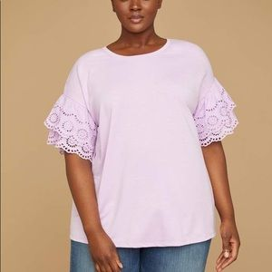 Eyelet-Sleeve Sweatshirt Top, frosted lilac